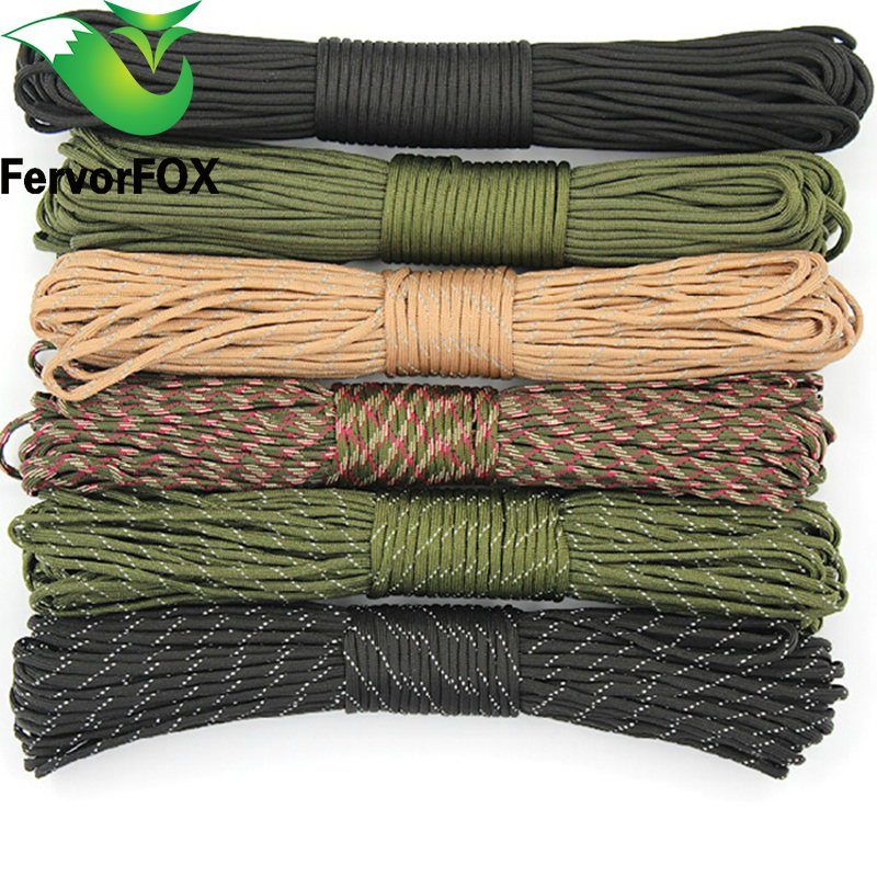 25 FT New Paracord 550 Paracord Parachute Cord Lanyard Rope Mil Spec Type III 7 Strand 25FT Climbing Camping Survival Equipment