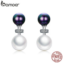 BAMOER High Quality 100% 925 Sterling Silver Double Ball Elegant Exquisite Stud Earrings for Women Fashion Silver Jewelry SCE304(China)
