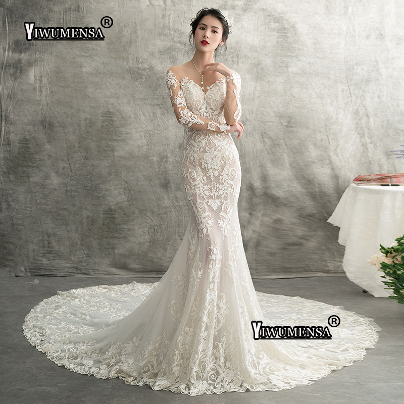 8383e536dc3 YiWuMenSa Mermaid Long Sexy Wedding Dresses 2018 Lace Appliques Long  Sleeves Bride Dresses Elegant Wedding Gowns robe de mariee