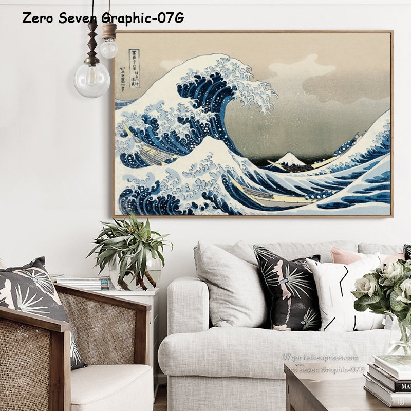 07g Original Kanagawa Surfen Künstler Katsushika Hokusai A2 A3 Leinwand Malerei Druck Bild Poster Wand Schlafzimmer Dekoration