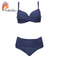 Andzhelika 2017 Women Plus Size Swimsuit New Dot Sexy High Waist Bikinis Set Fold Beach Bikini