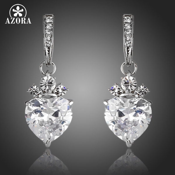 AZORA Valentine's Day Gift Heart Clear Shape Clear Cubic Zirconia Drop Earrings for Women TE0137 pair of chic rhinestone hollow out cube shape valentine s day gift earrings for women
