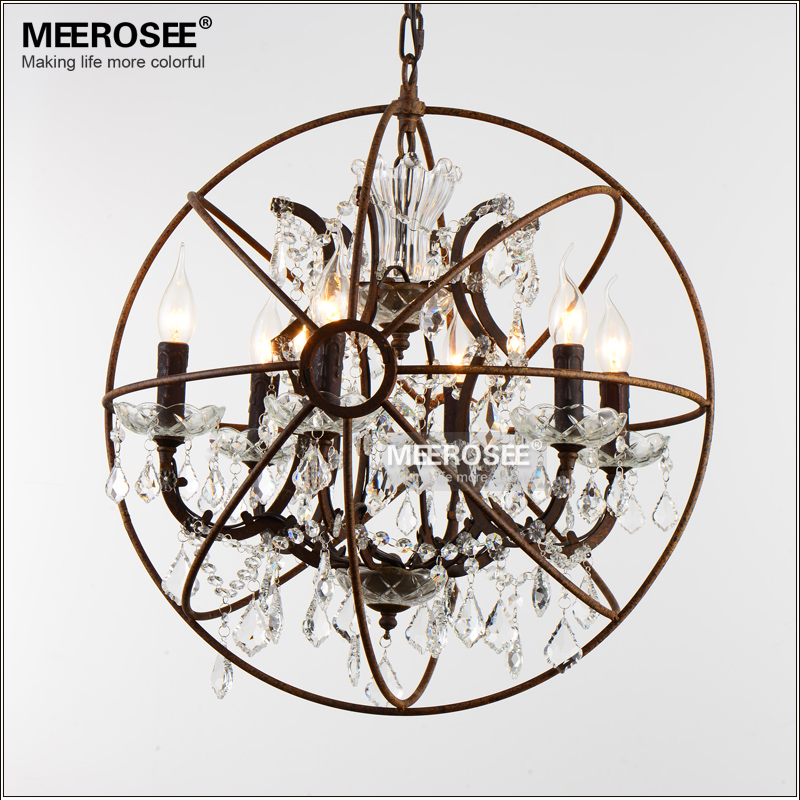 American Style Crystal Pendant Light Staircase Retro Rust Color Suspension Lamp 6 Lights Crystal Drop Lustre for Cafe Hotel deco wheat breeding for rust resistance