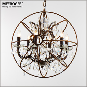 Американский стиль кристалл подвеска свет лестница ретро цвета ржавчины подвесной светильник 6 огни кристалл падение блеск для Cafe Hotel деко