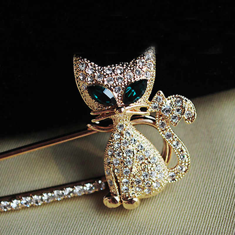 Fashion Women Girl New Golden Silvery Rhinestone Crystal Green-eyes Cat Brooch Pin Christmas Gift Dropshipping