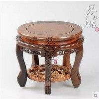 Red Woodcarving Solid Wood Pedestal Vase Aquarium Bonsai Jade Buddha Porcelain Flower Base Wenge