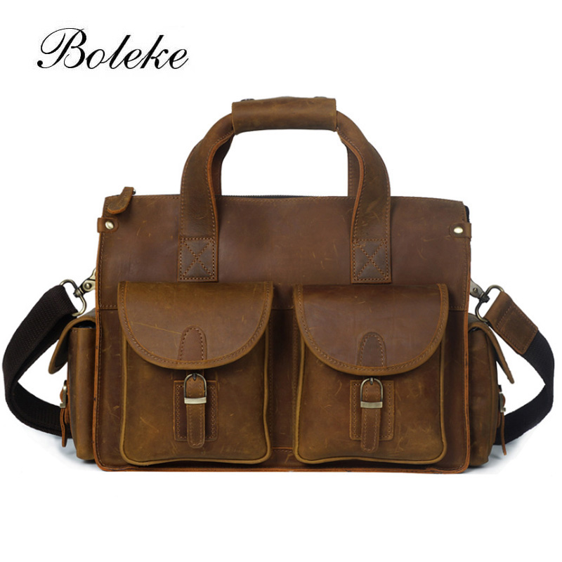 Men Genuine Leather Briefcases 15.6 Inch Laptop Briefcase Vintage Crazy Horse Leather Messenger Shoulder Bag Crossbody Tote 2061