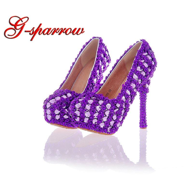 Purple Color Wedding Party Shoes Rose Lace Flower Crystal Bridal Dress Shoes Platform High Heel Prom Stiletto Nightclub Pumps бра reccagni angelo a 6208 2