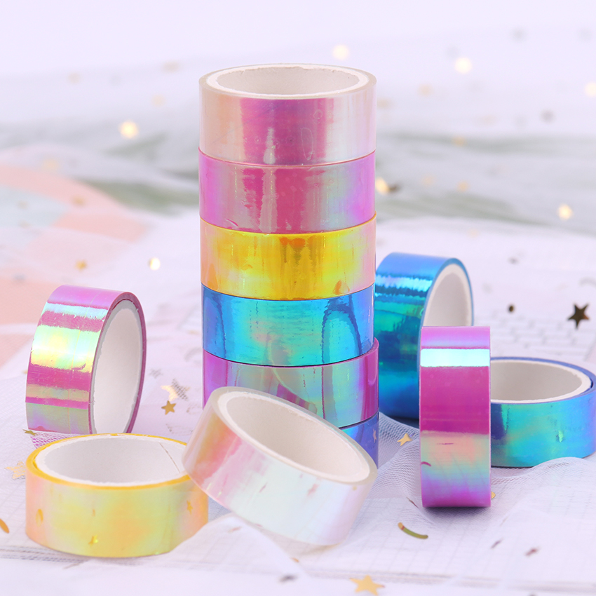 Creative Glitter Rainbow Laser Paper Tape Stationery Scrapbooking Decorative Adhesive Tapes DIY Masking Tape School Supplies