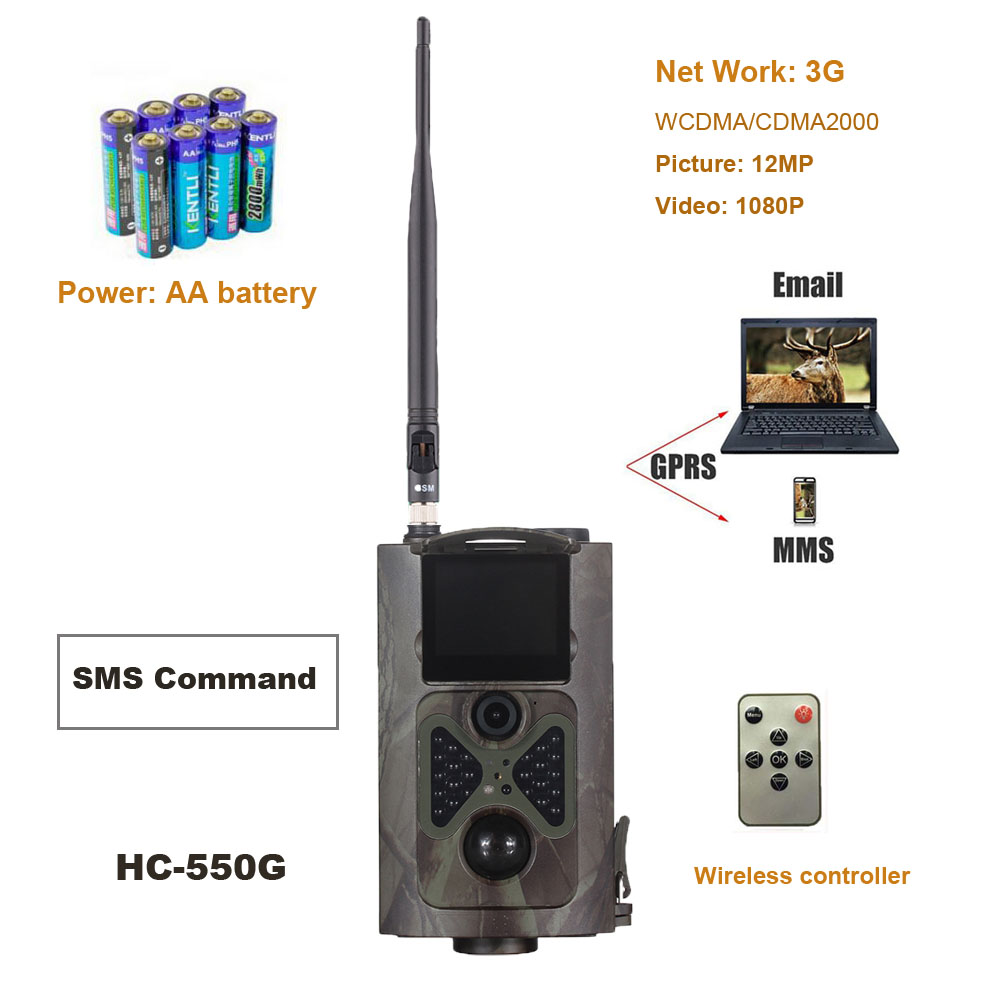 16MP 1080 p Trail Chasse Caméra 3g réseau MMS SMTP/SMS et Grand Angle Caméras De La Faune Suntek HC550G