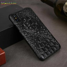 купить Genuine Leather Case For iPhone XR Cover iPhone X XS Max Back Case Luxury 3D Crocodile head Pattern Phone Case по цене 868.85 рублей