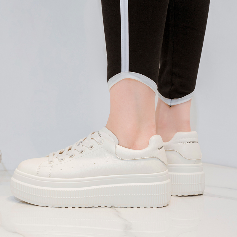 Shoes Woman Leather White Sneakers Women 2019 Women Casual Shoes 5cm in Women 39 s Vulcanize Shoes from Shoes