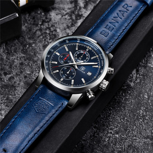 Image 4 - BENYAR Mens Watches Luxury Top Brand Quartz Chronograph Watch Fashion Sports Automatic Date Leather Men Clock Relogio Masculino