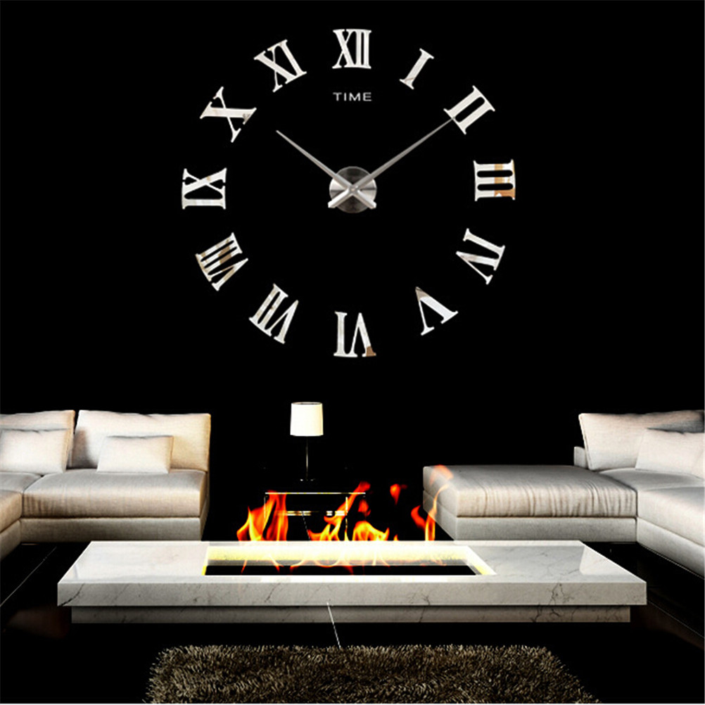 1 Set Wall Clock Clocks Watch Diy 3D Acrylic Mirror Large Home Quartz Circular Needle Modern