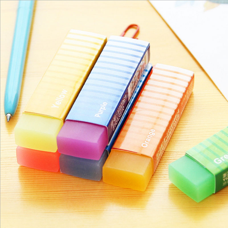 2pcs/lot Kawaii Long Side Rubber Eraser School Stationery School Office Supplies Material Escolar Papelaria Gift For Kids