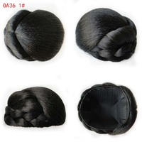 Women S Heat Resistant Synthetic Hair Wig Braided Bun Twisted Fake Chignonn Hairpiece Clip Buns Toupee