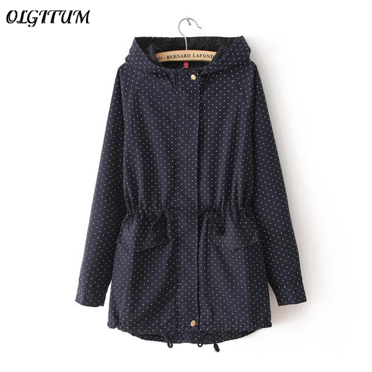 New 2019 Spring Autumn Europe Womens Polka Dots Coat Windbreaker Hooded Zipper   Trench   Slim Woman