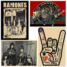 Ramones Rock Music Posters Vintage Poster Home Decor Kraft paper/Cafe/Bar poster/ Retro Poster 30x21cm(China)