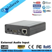 Unisheen H.264 Video Stream IPTV HDMI Encoder 1080P Low Lantency Transmitter Camera to Ip Vmix OBS Wowza Youtube Facebook