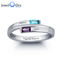Personalized Carving Word Ring Couple Stone 925 Sterling Silver Cubic Zirconia Ring Free Gift Box JewelOra