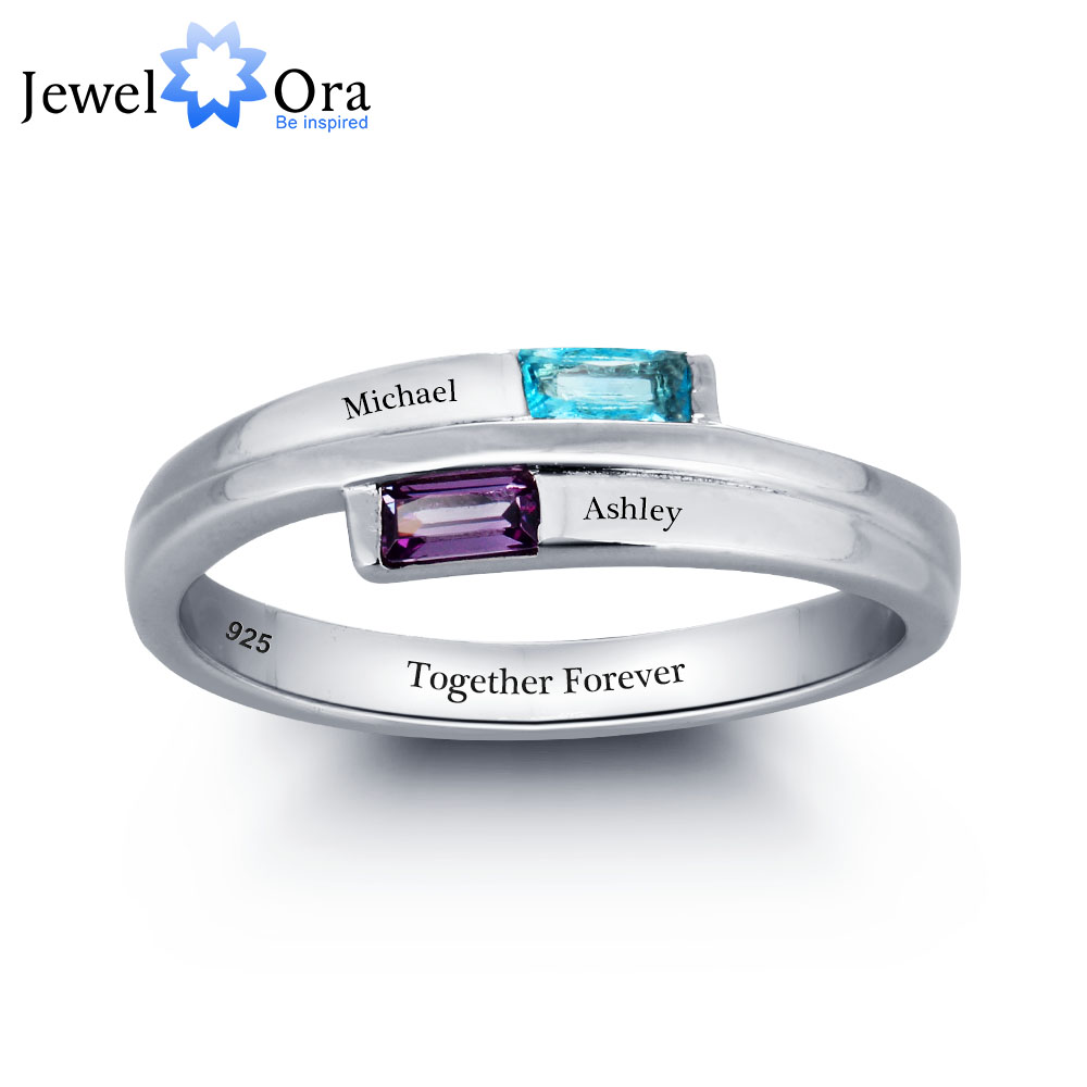 Engagement Rings 925 Sterling Silver Promise Rings Personalized Engraved Names Birthstone Jewelry JewelOra RI101782