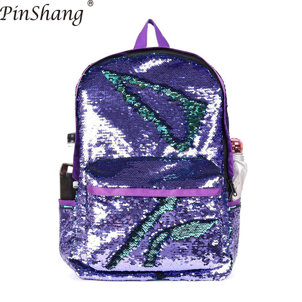 Backpacks Women Fashion Glitter Sequins Laptop Backpack Large Capacity Solid Color Travel Bag Women Male Schoolbag Packs ZK30