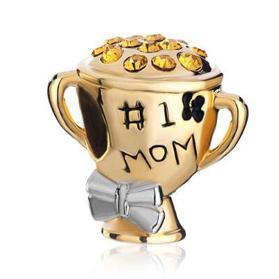Fit Pandora charm bracelets Mother Daughter 1 Number 1 Mom Golden Cup Beads Charms Bracelets Beads for jewelry making
