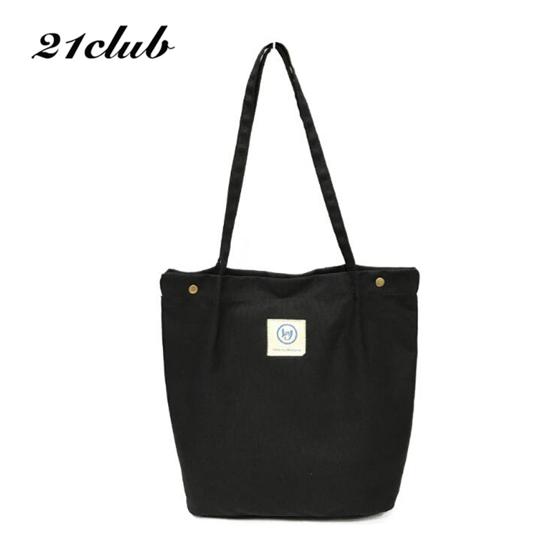 21Club Ladies Solid Canvas Bucket Totes Shopping Travel Large Purse Coin Shoulder Handbags