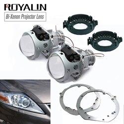 ROYALIN For Ford Mondeo MK IV 4 Facelift Hella 3R G5 Bixenon Projector Headlight Lens w/ Frame Adapter Bracket Car Retrofit