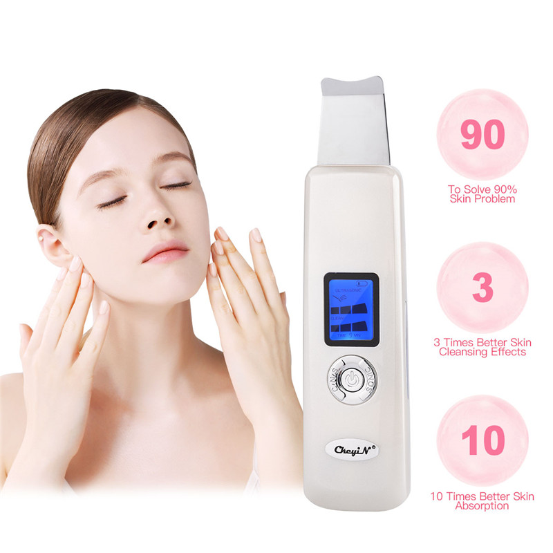 цена Ultrasonic Face Skin Scrubber Deep Cleaning Facial Peeling Skin Cleaner Acne Removal Blackhead Machine Beauty Face Skin Care