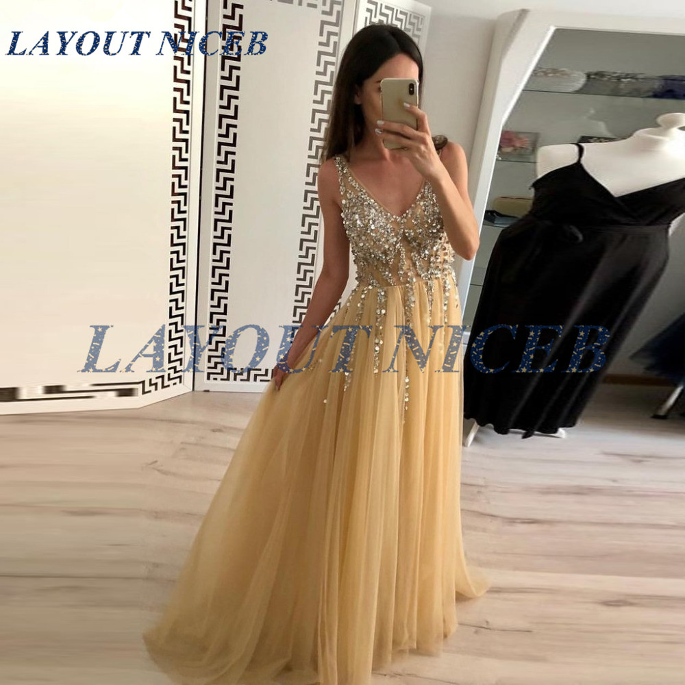 2019 Long Bling Beading   Prom     Dress   A Line Sleeveless Sexy V Neck Formal Party   Dress   Open Back Tulle Formal Gown Vestido De Festa