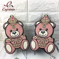 Fashion Personality Design Teddy Bear Cartoon Pattern Pu Chain Ladies Shoulder Bag Handbag Flap Crossbody Mini