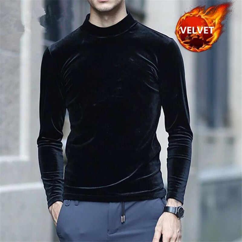 c4b9d8f9673168 ... Spring Autumn New T-Shirt Men Gold Velvet Long Sleeve Turtleneck T  Shirts 2019 Casual ...