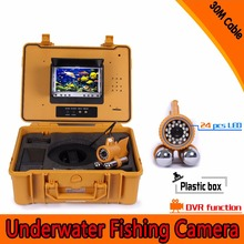 (1set) 30M cable Underwater Fishing camera DVR 7 Inch color Monitor 24 white LED Night version Fish Finder Diving surveillance