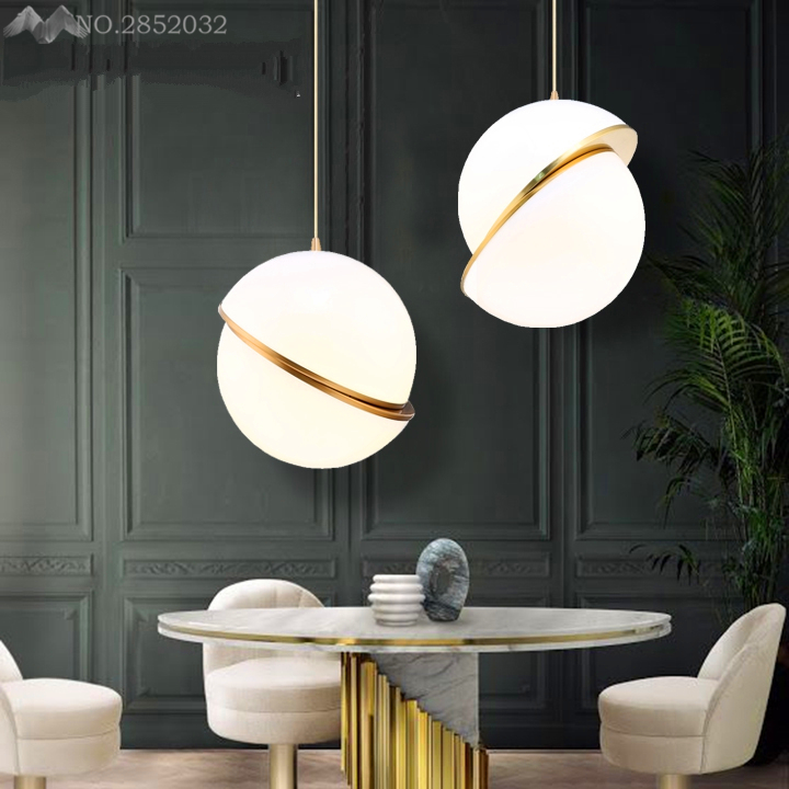 Nordic Modern Pendant Lights Golden Ball Simple Light Bedroom Kitchen Dining Room Lamps Bar Coffee Shop Decoration Pendant Lamp