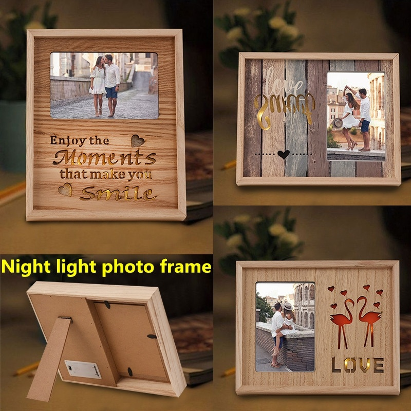 Hot Sale Flamingo Wooden Frame Decoration Night Light Put Fresh Picture Frame Photo Frame Lights Study Bedroom Bedside Gifts in Frame from Home Garden