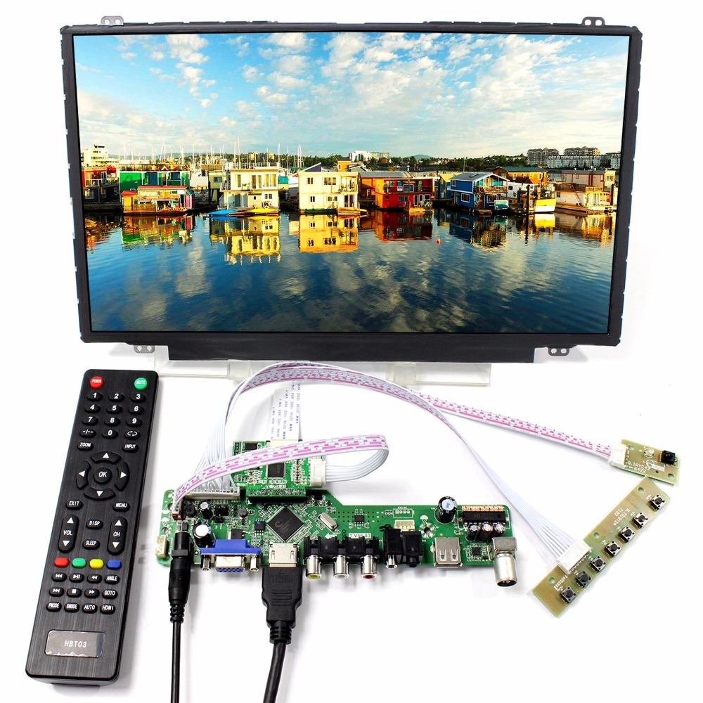 TV HDMI VGA AV USB LCD Controller Board+14 1920x1080 NV140FHM-N44 IPS LCD Screen tv hdmi vga av usb audio lcd controller board 10 1b101aw06 1024x600 lcd screen