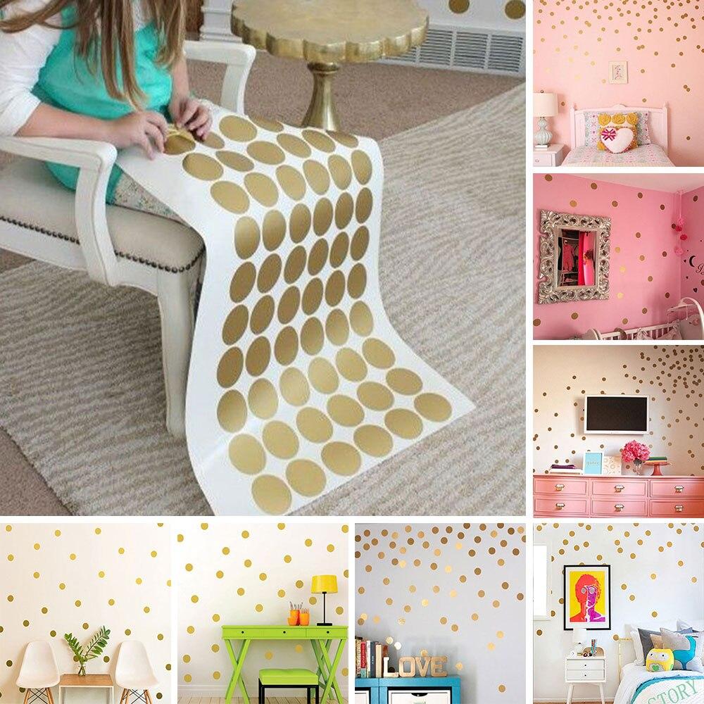 Gold Polka Dots Wall Sticker Children Decal Vinyl Art Home Decor Living Room Golden Dot Art Wall Sticker Wall Paper Background