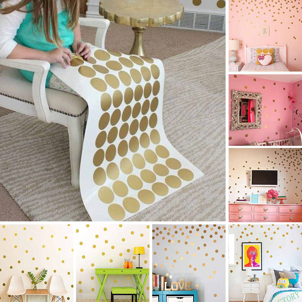 Gold Polka Dots Wall Sticker Children Decal Vinyl Art Home Decor Living Room Golden Dot Art Wall Sticker Wall Paper Background
