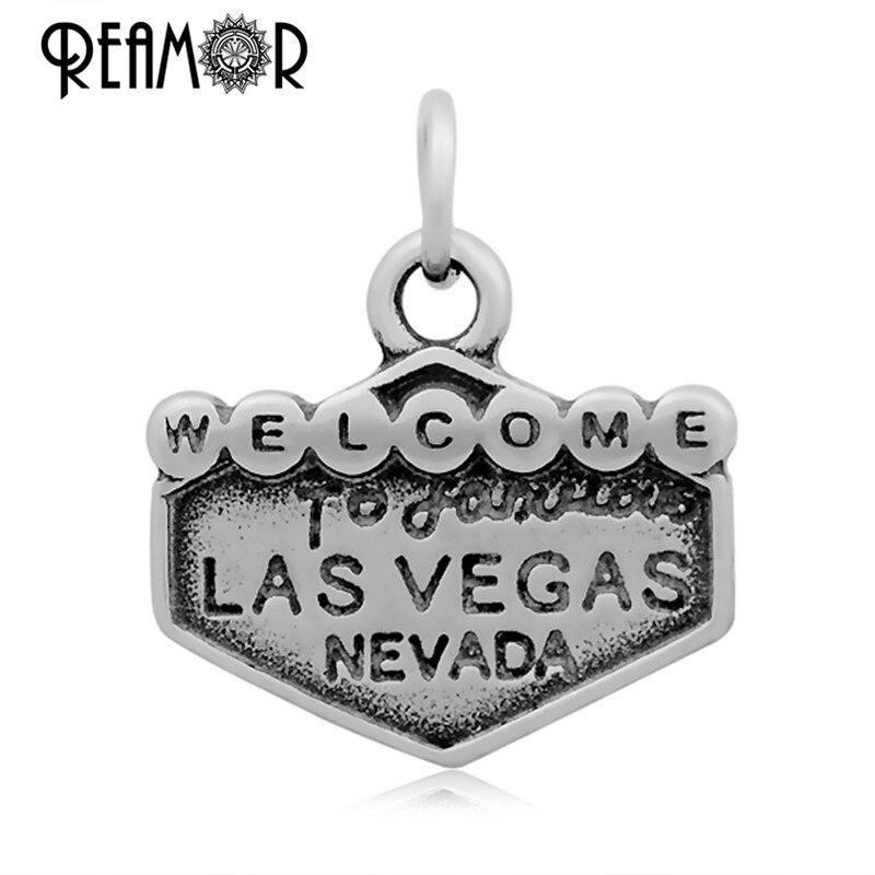 Reamor Bienvenido a Las Vegas Nevada carta 316l Acero inoxidable flotante  Casino cuelga Amuletos colgante collar con cierre de langosta bddb90b953a