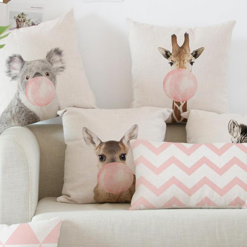 Car Backrest Pink Cushion Decoration Giraffe Koala Zebra Balloon Stripe Triangle Tent Perfume Bottle Girl Pillow Nordic Style-in Cushion from Home & Garden on Aliexpress.com | Alibaba Group