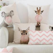 Car Backrest Pink Cushion Decoration Giraffe Koala Zebra Balloon Stripe Triangle Tent Perfume Bottle Girl Pillow Nordic Style