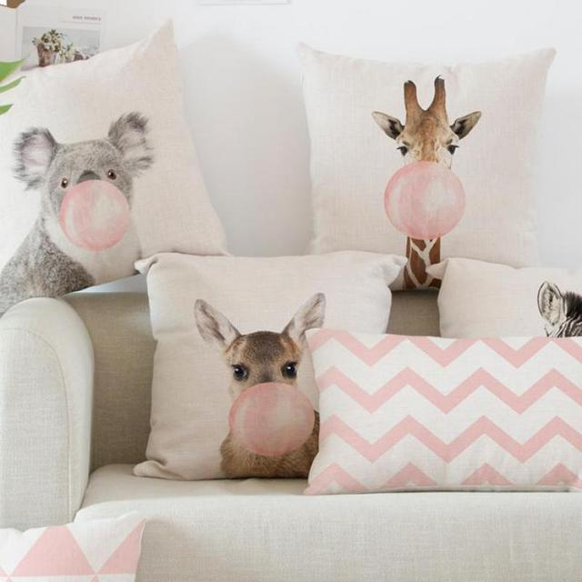 Decoration Pink Cushion @ Pillow Giraffe, Koala, Zebra & Balloon Style