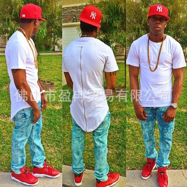 2016 Negro/Blanco/venta Caliente XXL Larga Espalda Cremallera Streetwear Swag Hombre Tyga Hip