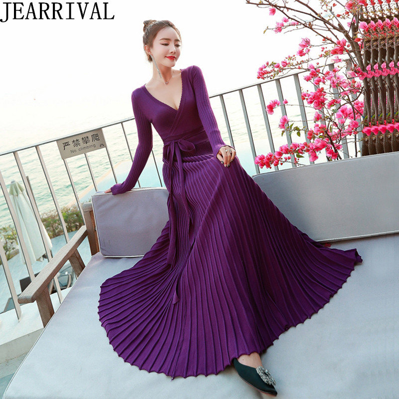 Elegant Black Red Knitted Long Sweater Dresses 2019 New Women's Sexy V-Neck Slim Casual Pleated Autumn Winter Dress Vestidos