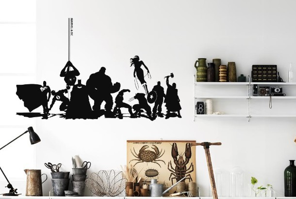 The Advengers Wall Sticker Marvel DC Avengers Collection Anime - Vinyl wall decals avengers