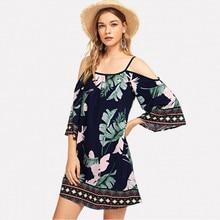 Женский летний халат longue femme ete boheme, повседневные, с круглым вырезом, сексуальные, с открытыми плечами, с цветочным принтом, повседневные летние платья, платье#3