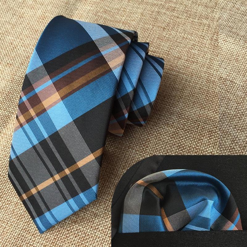 SCST Brand Gravata New Blue Plaid Print 6cm Skinny Men's Necktes Silk Ties For Men Tie With Match Pocket Square 2pcs Set A052