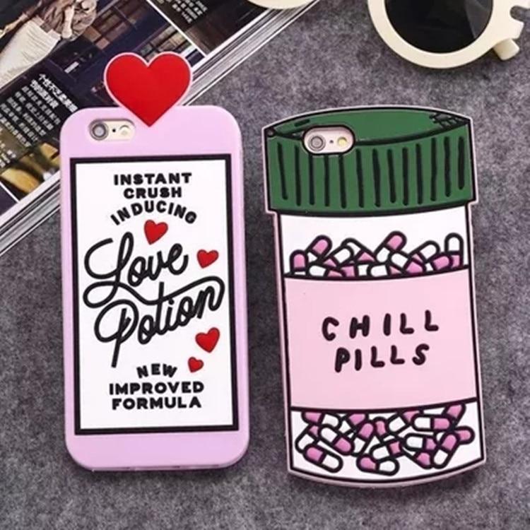 Galleria fotografica Fashion Cartoon Love Potions Chill Pills Bottle Soft Silicone Cover Case For iPhone 6S Plus 7 Plus 5S Capa Carcasa Funda Coque