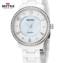 MSTRE Brand Women Ceramics Luxury Rhinestone Japan Quartz Analog Pointer Watches Ladies Greek Numeral Waterproof Wrist Watch